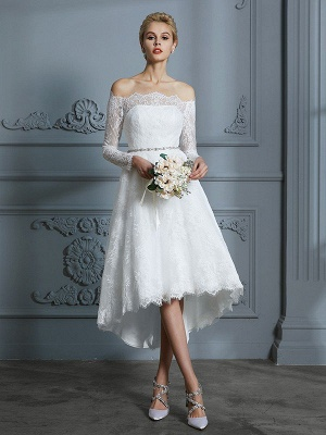 Off-the-Shoulder Asymmetrical A-Line Long Sleeves Lace Wedding Dresses