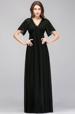 MAGDA | A-line V-neck Short Sleeves Long Black Chiffon Bridesmaid Dresses