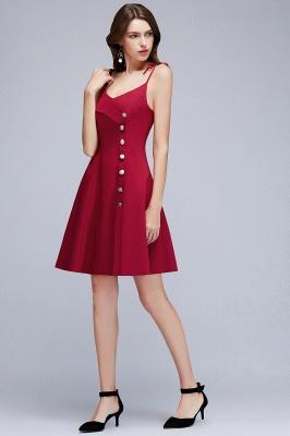 MALVINA | A linha de vestidos de baile de espaguete curto com decote em v Borgonha com botões_7