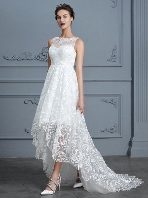 Scoop Sleeveless Asymmetrical A-Line/Princess Lace Wedding Dresses