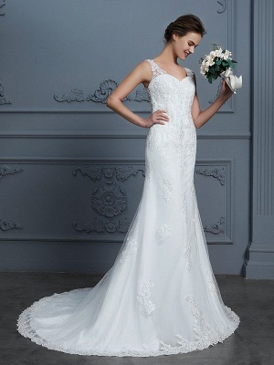 Sleeveless V-neck Mermaid Lace Court Train Tulle Wedding Dresses