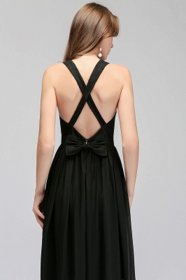 MAGGIE | A-line V-neck Floor Length Sleeveless Lace Top Black Bridesmaid Dresses_9