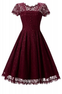 Women Floral Lace Short Sleeve Vintage Lady Party Swing Bridesmaid Dress_1
