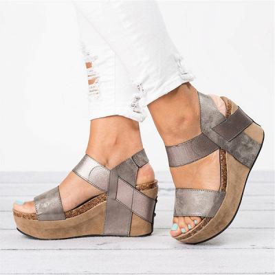 Double Straps Daily PU Peep Toe Wedge Sandals_8