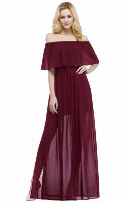 PANDORA   A-line Off-the-shoulder Floor Length Black Chiffon Bridesmaid Dresses_1