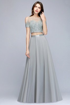 MADGE   A-line Two-piece Floor Length Appliqued Chiffon Prom Dresses_5