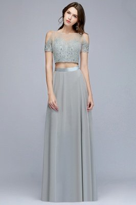 MADGE   A-line Two-piece Floor Length Appliqued Chiffon Prom Dresses_4