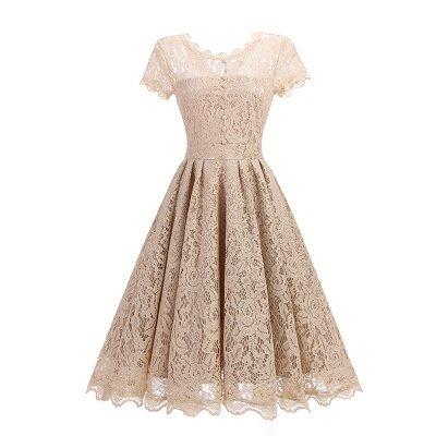 Women Floral Lace Short Sleeve Vintage Lady Party Swing Bridesmaid Dress_3