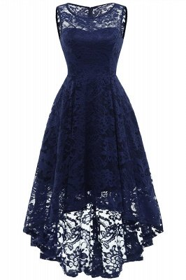 Women Floral Lace Bridesmaid Party Dress Short Prom Dress V Neck_4