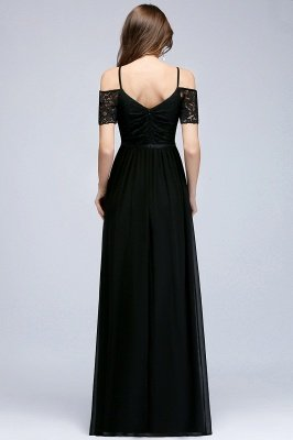 MAGNOLIA | A-line Long Spaghetti V-neck Black Lace Chiffon Bridesmaid Dresses_3