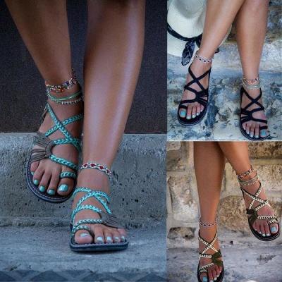 Summer Handmade Breathable Bandage Beach Flat Sandals_5