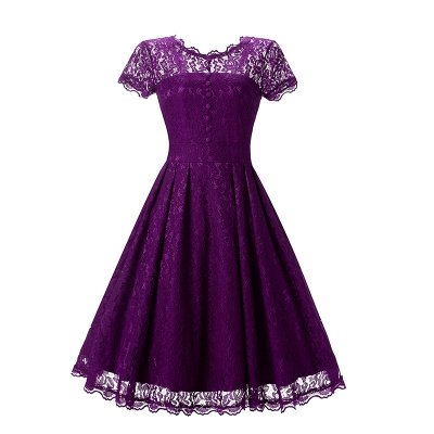 Women Floral Lace Short Sleeve Vintage Lady Party Swing Bridesmaid Dress_4