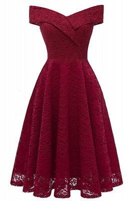 Schlichte Hellrosa Abendkleider A-Linie | Kurz Party Kleider Schulterfrei_10