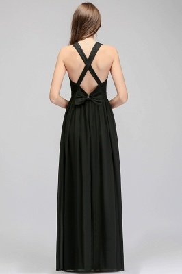 MAGGIE | A-line V-neck Floor Length Sleeveless Lace Top Black Bridesmaid Dresses_3