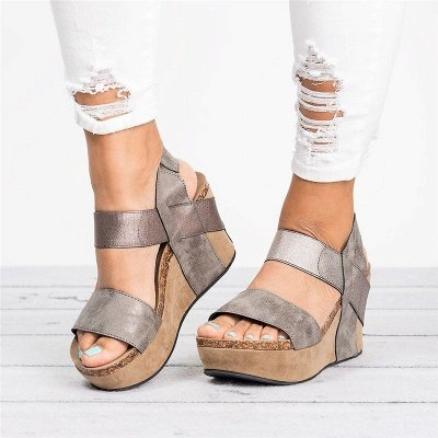 Double Straps Daily PU Peep Toe Wedge Sandals_17