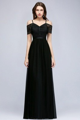 MAGNOLIA | A-line Long Spaghetti V-neck Black Lace Chiffon Bridesmaid Dresses_5