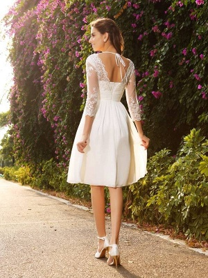Short A-Line V-neck Chiffon Wedding Dresses with Sleeves_3