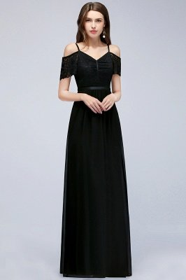 MAGNOLIA | A-line Long Spaghetti V-neck Black Lace Chiffon Bridesmaid Dresses_4