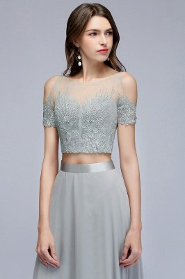 MADGE   A-line Two-piece Floor Length Appliqued Chiffon Prom Dresses_3