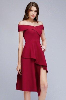 MALLORY | A-line Asymmetrical Short Off-the-shoulder Burgundy Prom Dresses_8