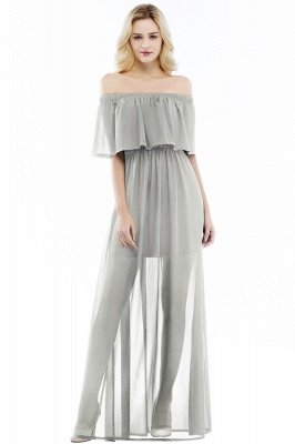 PANDORA   A-line Off-the-shoulder Floor Length Black Chiffon Bridesmaid Dresses_3