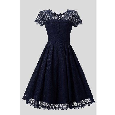 Women Floral Lace Short Sleeve Vintage Lady Party Swing Bridesmaid Dress_5