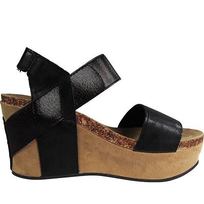 Double Straps Daily PU Peep Toe Wedge Sandals_12