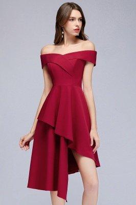 MALLORY | A-line Asymmetrical Short Off-the-shoulder Burgundy Prom Dresses_9