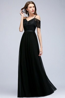 MAGNOLIA | A-line Long Spaghetti V-neck Black Lace Chiffon Bridesmaid Dresses_6