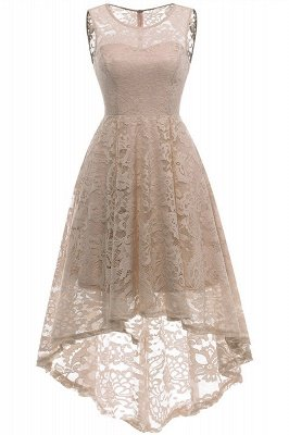 Women Floral Lace Bridesmaid Party Dress Short Prom Dress V Neck_14
