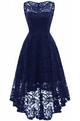 Women Floral Lace Bridesmaid Party Dress Short Prom Dress V Neck_11