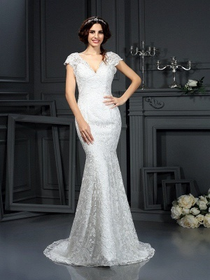 e3c2a09dbe8 V-neck Mermaid Sleeveless Lace Long Wedding Dresses