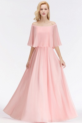 NOAH | A-line Long Off-the-shoulder Pink Bridesmaid Dresses with Sleeves_1