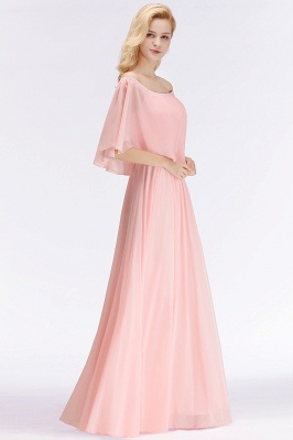 NOAH | A-line Long Off-the-shoulder Pink Bridesmaid Dresses with Sleeves_6