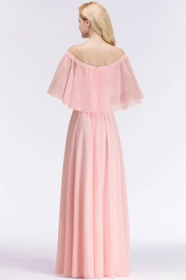 NOAH | A-line Long Off-the-shoulder Pink Bridesmaid Dresses with Sleeves_3