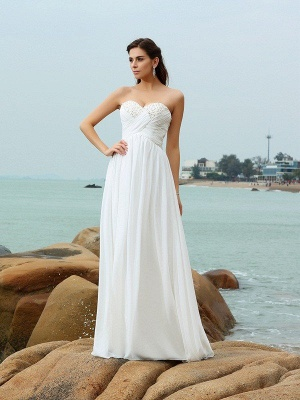 A-Line Sweetheart Sleeveless Beading Long Chiffon Beach Wedding Dresses_1