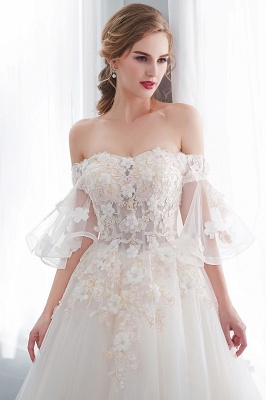 NANCE | Ball Gown Off-the-shoulder Floor Length Appliques Tulle Wedding Dresses_9
