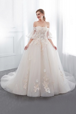 NANCE | Ball Gown Off-the-shoulder Floor Length Appliques Tulle Wedding Dresses_5