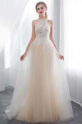 NATALIA   A-line Halter Floor Length Appliqued Tulle Evening Dresses_4