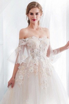 NANCE | Ball Gown Off-the-shoulder Floor Length Appliques Tulle Wedding Dresses_8