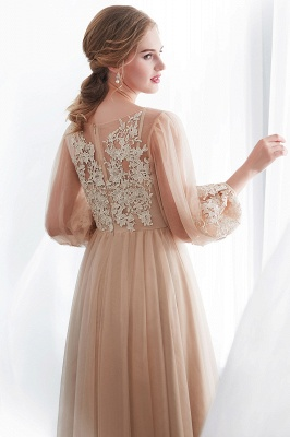 NATALIE | A-line Long Sleeves Appliques Tulle Champagne Evening Dresses_9