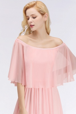 NOAH | A-line Long Off-the-shoulder Pink Bridesmaid Dresses with Sleeves_7