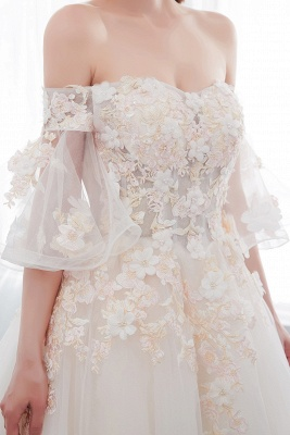 NANCE | Ball Gown Off-the-shoulder Floor Length Appliques Tulle Wedding Dresses_10