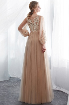 NATALIE | A-line Long Sleeves Appliques Tulle Champagne Evening Dresses_3
