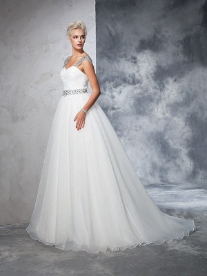Long Tulle Ball Gown Straps Ruched Sleeveless Wedding Dresses_5