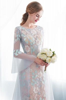 NAOMI | Gaine manches longues pure encolure appliques fleurs robes de soirée_4