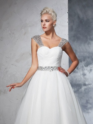 Long Tulle Ball Gown Straps Ruched Sleeveless Wedding Dresses_6