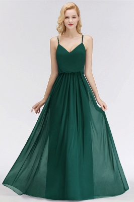 NICOLA | A-line Floor Length V-neck Spaghetti Chiffon Bridesmaid Dresses_8