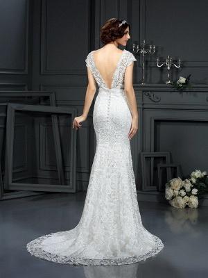 Vestidos de novia largos de encaje con cuello en V sin mangas de sirena_3