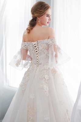 NANCE | Ball Gown Off-the-shoulder Floor Length Appliques Tulle Wedding Dresses_11